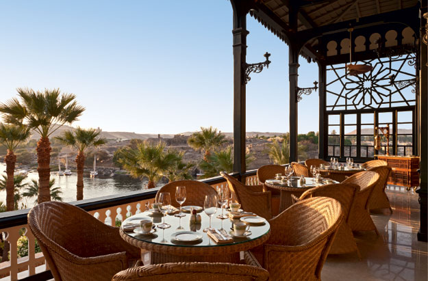 terrace at old cataract hotel in egypt